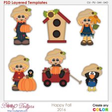 Happy Fall Scarecrow Layered Element Templates