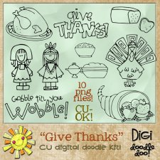 Give Thanks Thanksgiving CU doodles