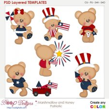 Marshmallow & Honey Patriotic Layered Element Templates