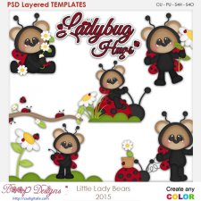 Little Lady Bug Bears Layered Element Templates