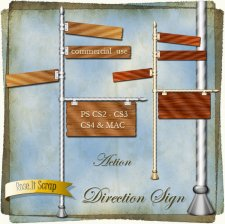 Action - Wood Direction Sign with Pole by Rose.li