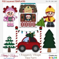 Raggedy Village Christmas Tree Farm Layered Element Templates