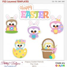 Happy Easter Friends the Owls Layered Element Templates