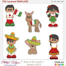 Kids of the World 1- Mexico Layered Element Templates