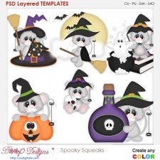 Spooky Squeeks Halloween Mice Element Templates