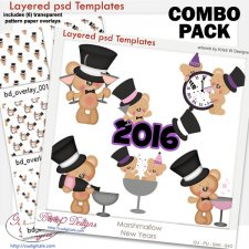 Marshmallow Bear New Years Layered Template COMBO Set