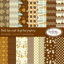 Fall Harvest Papers by Lilmade Designs
