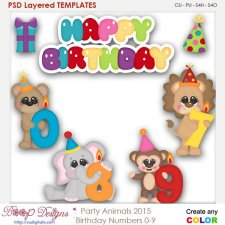 Party Animal Candles 0-9 Layered Element Templates