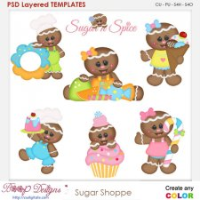 Sugar Ginger Shoppe Layered Element Templates