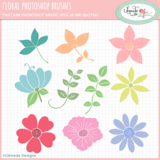 Floral clipart Photoshop brushes Lilmade Designs