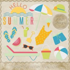 Hello Summer Layered Vector Templates by Josy