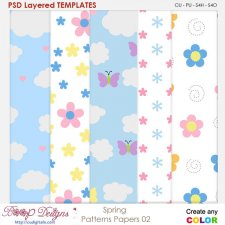 Spring Paper Patterns 02 - Layered Templates