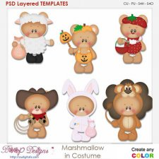 Marshmallow Bear In Costume Element Templates