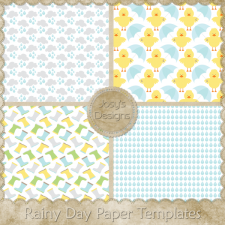 Rainy Day Paper Layered Templates by Josy