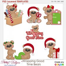 Wrapping Good Time Bears Layered Element Templates