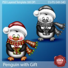 Penguin with Gift Layered PSD Template