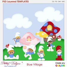 Blue Village Layered Element Templates