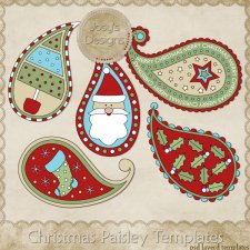 Christmas Paisley 1 Layered Templates by Josy