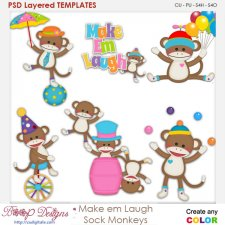 Make Em Laugh Sock Monkeys Layered Element Templates