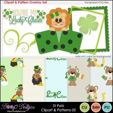 St Pats 05 - Clipart & Pattern Overlay COMBO