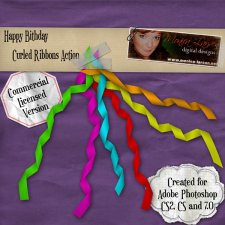 Happy Birthday Curled Ribbons Actions by Monica Larsen