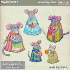 EXCLUSIVE Town Mouse 1 Watercolour by Silver Splashes