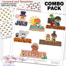 Monthly Calendar 2 Layered Word Templates & Pattern Overlays COMBO