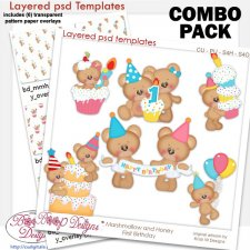 Marshmallow & Honey Bears First Birthday COMBO Templates