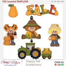 Happy Fall Autumn Scarecrow 2 Element Templates