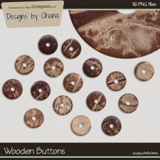 Wooden Buttons - EXCLUSIVE Designs by Ohana