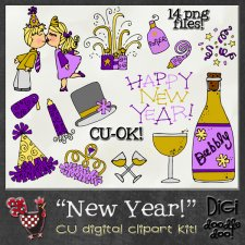 New Year CU clipart