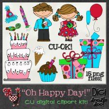 Oh Happy Day Birthday CU clipart