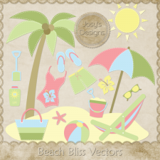 Beach Bliss Layered Vector Templates by Josy