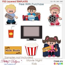 Movie Night Kids Layered Element Templates