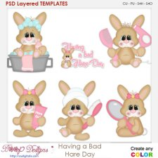 Girl having a Bad Bunny Hare Day Layered Element Templates