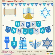 Happy Hanukkah Vector Layered Vector TEMPLATES
