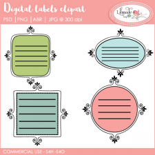 Digital labels clipart templates and Photoshop Brushes Lilmade Designs