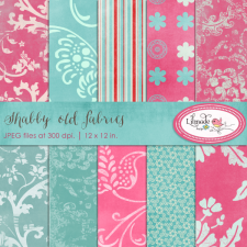 Artistic digital papers in pink and turquoise