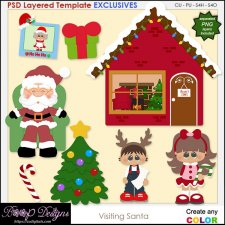 Visiting Santa - EXCLUSIVE Layered TEMPLATES