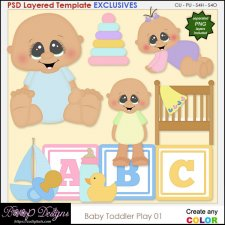 Baby Toddler Play 01 - EXCLUSIVE Layered TEMPLATES