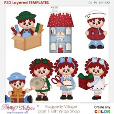 Raggedy Village Part 1-Gift Wrap Shoppe Layered Element Templates