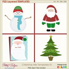 Christmas Holiday Mix 01 Layered Element TEMPLATES