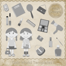 Girls World Layered Templates by Josy