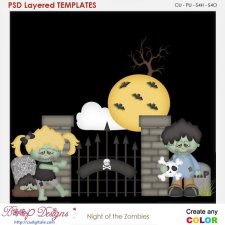 Night of the Zombies Halloween Element Templates