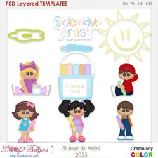 Sidewalk Chalk Artist Layered Element Templates