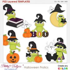 Halloween Frog Frolics Element Templates