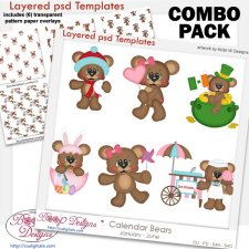 Calendar Bears Holiday 1 Layered Template & Pattern Overlay COMBO
