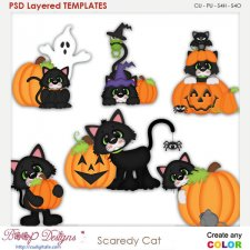 Scaredy Cat Halloween Layered Element Templates