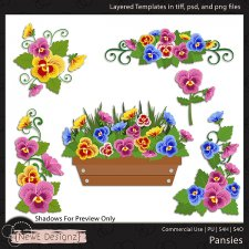 EXCLUSIVE Layered Pansies Templates By NewE Designz