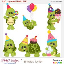 Birthday Turtles Layered Element Templates